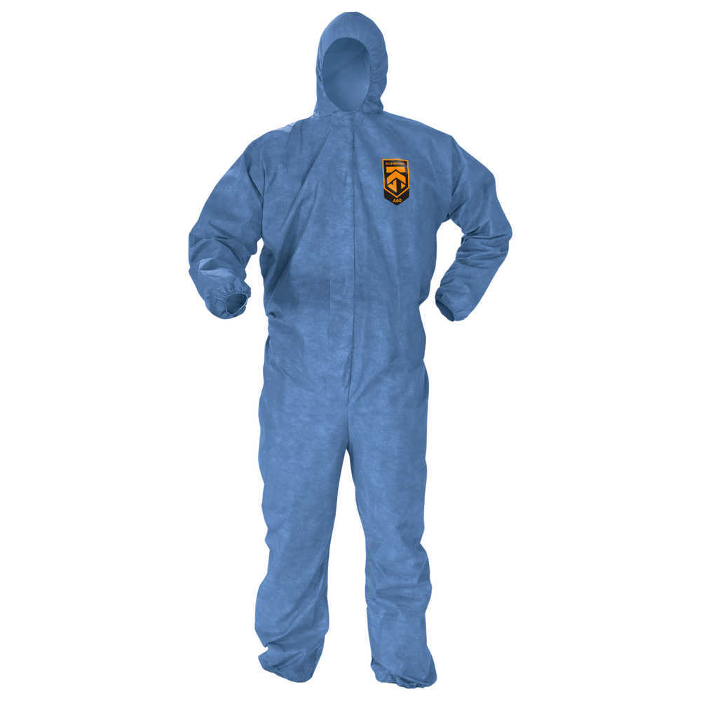 KleenGuard A60 bloodborne pathogen and chemical splash protection coveralls, blue. Elaastic wirsts and ankles, zipper front with storm flap, hooded. Passes ASTM F1670/1671 testing for penetration of blood, body fluids and bloodborne pathogens. Size medium