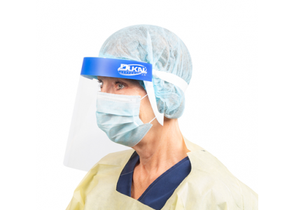 Double-sided anti-fog  Clear polyethylene for optimal visibility  Foam headband for gentle comfort Protection from splashing or spraying  5 protective shields per bag
