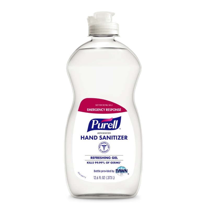 Kills 99.99% of most common germs that may cause illness. Outperforms other hand sanitizers ounce for ounce. Clinically proven to maintain skin health. America's #1 Instant Hand Sanitizer. Color     	:     	Clear Container Size     	:     	12.6 oz Container Type     	:     	Dawn Bottle Form     	:     	Gel Item     	:     	Hand Sanitizer Sub Brand     	:     	PURELL® Type     	:     	Instant