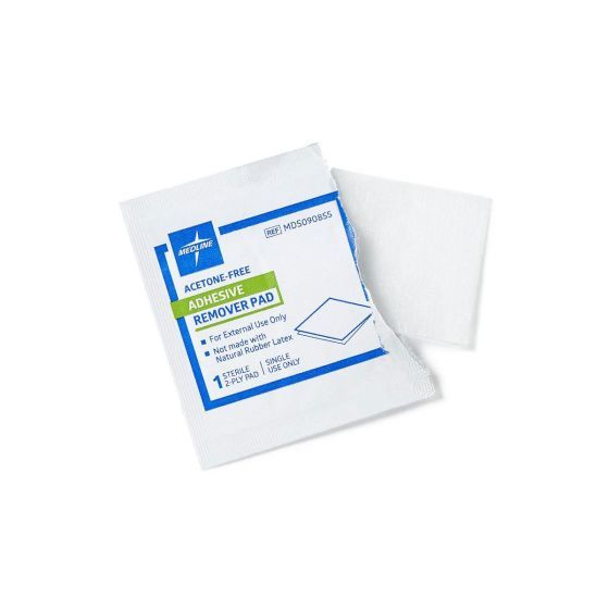 Textured pads easily and effectively remove barrier films and residue left behind by adhesive tapePads help reduce patient discomfort while contents help soften the skinDisposable, single-use pads are individually wrapped for convenience